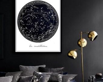 Vintage Constellation Poster PRINTABLE FILE - same price / 5 sizes, Celestial print, Stars art, Bedroom decor, Wall art, Dorm Room art