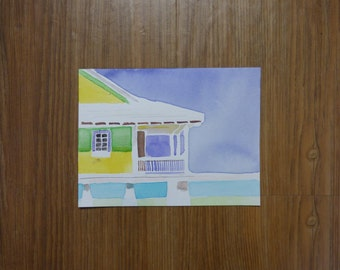 Beach House Watercolor Painting