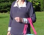 15.040.0026 Handmade cross body or shoulder bowler bag made of cotton, linen and vegan suede