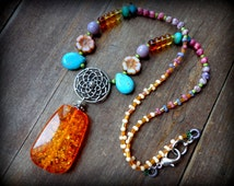 lotus mandala necklace, amber necklace, beaded bohemian necklace, pink flowers, turquoise drop necklace, springtime pastel summer jewelery