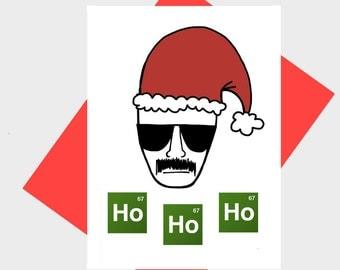 Funny Holiday Card - Christmas Card - Ho Ho Ho - Periodic Table - Geeky Card - Greeting Card