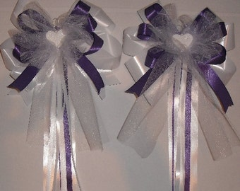 10x Church Pew End Bows - With Heart - Polytye, Silk & Tulle (All Colours Available) - Purple Pew End Bows