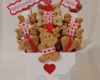 Welcome Home Dog biscuit treat dog gift basket, red hearts, personalized dog gift, dog birthday, New puppy gift