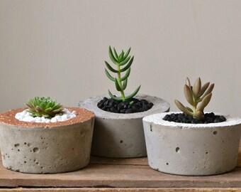 Small Round Concrete Planters