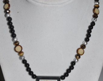 Necklace Pendant Onyx Frame Agate Grey Brown Glass Bead #354