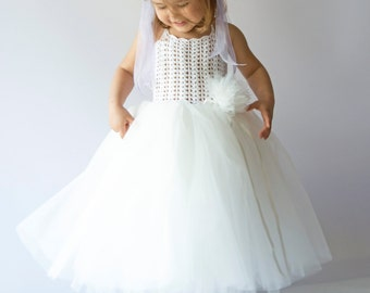 Halter Ankle Length Girl  Tutu Dress with stretch crochet bodice. Baby Flower Girl Tulle Dress