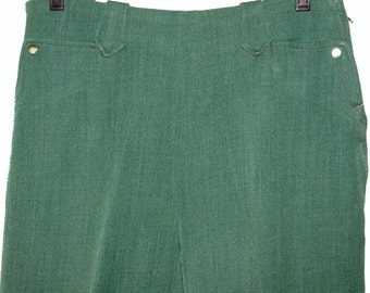 1950s Womens Green Wool H bar C Western Pants 31x32 Vintage Retro Rockabilly