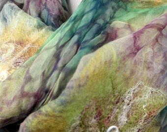 Nuno felt shawl flowers for women brown, green scarf, wrap, silk wool felt.