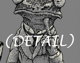 Frog Art - 8x10 Funny Art Print - Animal Print - Weird Gifts - Cool Men's Gifts - Poster Art - Creative