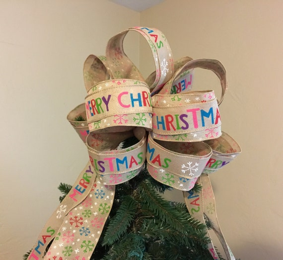 Merry Christmas Multi-Colored Snowflake Layered Tree Topper Bow