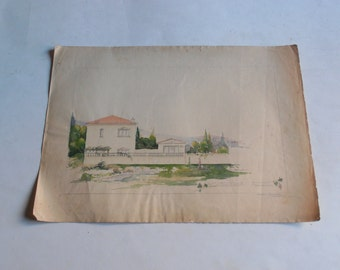 antique watercolor painting, homestead in a Greece, signed