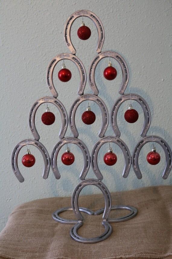 Items similar to horseshoe christmas tree on etsy for Christmas tree made out of horseshoes