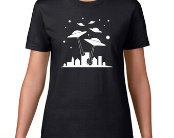 UFO Attack Tshirt, Funny TShirt, Space Alien T Shirt, UFO T Shirt, Funny T Shirt, Alien TShirt, Graphic Tee, Spaceship T Shirt