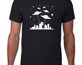 UFO Attack, Funny TShirt, Alien T Shirt, UFO T Shirt, Funny T Shirt, Alien TShirt, Funny Tee, Spaceship, Geek T Shirt, Mens Plus Size