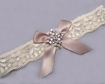 Champagne Wedding Garter, Toss Garter, Crystal Rhinestone Bridal Garter, Ivory / Off White Stretch Lace Garter, Single Garter, Bow Garter
