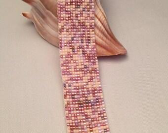 Pink Mosaic Miyuki Delica Hand Loomed Beaded Bracelet