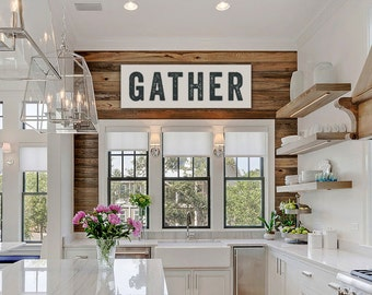 Gather Sign Large Canvas, Kitchen Decor, Fixer Upper Decor, Joanna Gaines, Vintage-look, Custom Sign, Home Decor, Kitchen Art, Thanksgiving