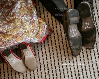 Set of Shoe Decals for Bride and Groom