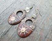 Boho Sun Earrings, Wooden Hoop Earrings, Gemstone Earrings, Bohemian Sun Earrings, Ethnic Sun Earrings, Brown Earthy Earrings, Wood Earrings