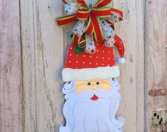 Santa Swag,Santa Door Hanger, Christmas Swag, Winter Swag, Back door Wreath, Christmas Door Swag, Christmas Hanging, Christmas Santa Hanging