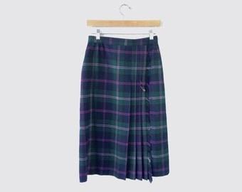 Vintage • Plaid Kilt Skirt, Blue, Green, Fuschia