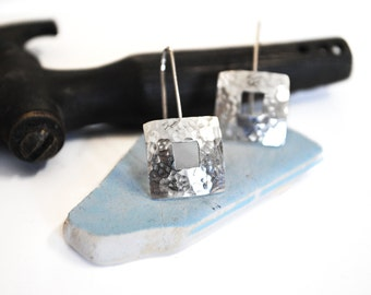 Hammered Square Domed Sterling Silver Dangle Earrings