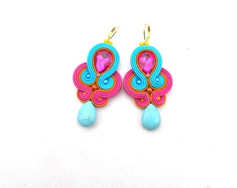 Dangle Drop Earrings, Soutache Earrings, Turquoise Earrings, Pink Earrings, Drop Earrings, Dangle Earrings