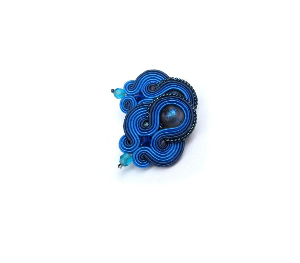 blue clip on earrings handmade soutache earrings navy blue