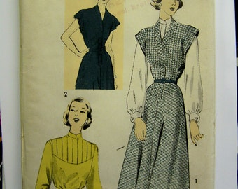 Vintage 1940s Advance 5126 Misses' One-Piece JUMPER/DRESS & Blouse pattern  Size 20 - bust 38