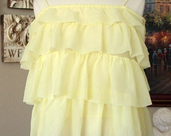 1960s Yellow Ruffle Sheer Top/ Lingerie Baby Doll Nightie Rockabilly Easter Suprise