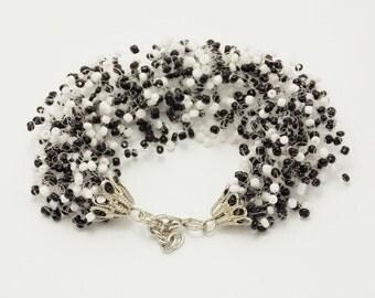 Girlfriend gift under 25 protection bracelet beautiful jewelry Black white bracelet black white jewelry polka dot jewelry balance bracelet