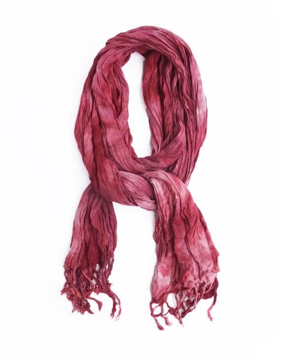 "Burgundy maroon scarf - crinkle scarf - fall scarf - fringe scarf - rayon scarf - burgundy, maroon, mauve - hand dyed, tie dye - 20"" x 70"""