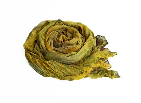 "Earth tone silk chiffon scarf - crinkle scarf - fall colors - large scarf - mustard, gold, olive, avocado, taupe - LARGE - 17"" x 74"""