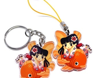 Cute Kimono Keychain, cute japanese girl, hanami, sakura, cherry blossoms, japan keychain, kawaii girl, kawaii anime, anime lover, japan