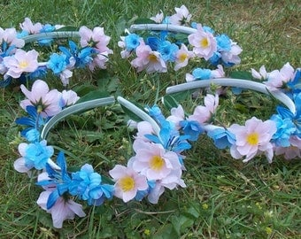 Fairy Birthday Party Crowns, Set of Four Matching Flower Crowns in Pink and Blue for Fairy Party Favors or Wedding Parties, Bridal Crowns