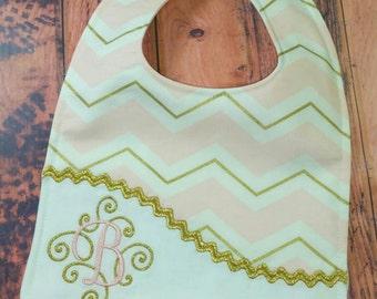 Personalized Bib, - Pink and Gold Chevron Monogrammed Baby Bib, - Reversible Embroidered Baby Bib, - Baby Shower Gift