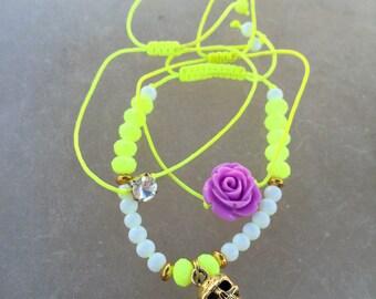 Neon Skull Rose Bracelet SET