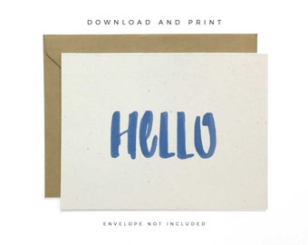 Printable Hello Card, Downloadable Any Occasion Card