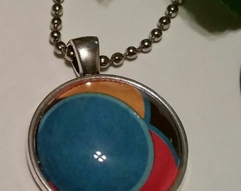 Abstract Glass Necklace, cabohochon ,silver ball chain,