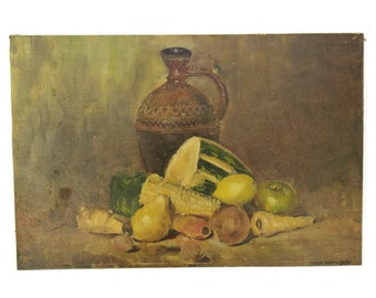 Autumn Still Life Painting with Pottery Pitcher and Vegetables by David Hamilton. Original Oil Painting. Food Art. Kitchen Wall Decor.
