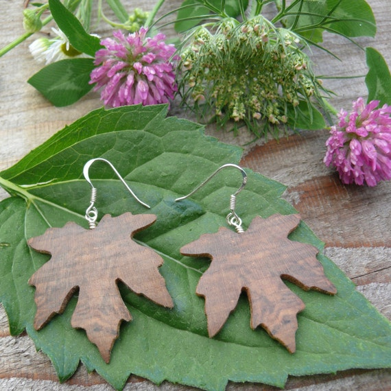 Wood earrings, Leaf earring, Maple leaf earrings, Sterling silver leaf earrings, Maple Leaf Jewelry, Boho earrings, Dangle drop earrings