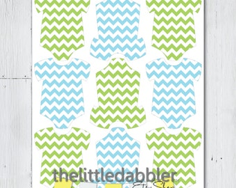 Blue Green Chevron Mini Baby Shower Onesie Tags - Baby Shower One Piece Thank You Favor Gift Tags Mini Onesie Place Setting - Printable PDF