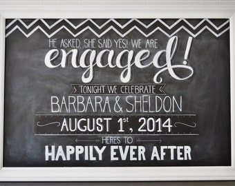 Custom Engagment Party Chalkboard Sign // Custom Made & Personalized for Any Occasion, Decor, or Business Needs. All Sizes Available.