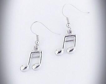 Music Note Earrings, Semi quaver earrings, Music Jewellery, Platinum plated earrings