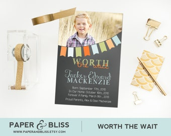 Worth The Wait - Photo Adoption Announcement - Custom Color Banner