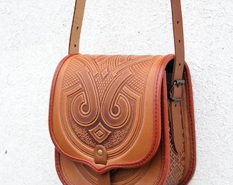 tooled light brown leather bag - shoulder bag - crossbody bag - handbag - ethnic bag - messenger bag -tooled leather purse - owl