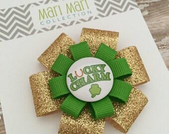 St. Patrick's Day Hair Bow - Lucky Charm Shamrock - Shamrock Glitter Hair Bow Clip - St. Patty's Hair Accessory - Green Shamrock Bow
