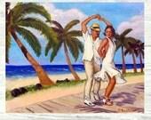 Salsa en la Playa PRINT or CANVAS Salsa Art. Salsa dancers on the Beach Art. Beach House Decor