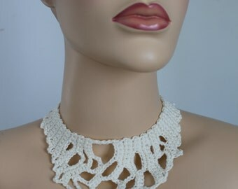 Ivory Lace  Freeform Crochet Necklace, Crochet Jewelry, Bib Necklace, Bohemian Necklace, Wedding necklace
