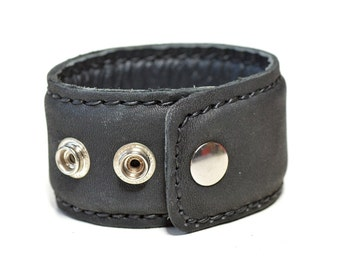Black Leather Cuff for Men and Women 3 sizes wrist